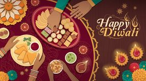 Παραδοσιακός εορτασμός Diwali στο σπίτι με τα τρόφιμα και τους λαμπτήρες διανυσματική απεικόνιση