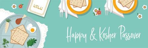 Παραδοσιακός πίνακας passover για το γεύμα Passover με το πιάτο passover διανυσματικό σχέδιο εμβλημάτων προτύπων απεικόνισης διανυσματική απεικόνιση