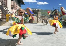 Παραδοσιακός Bhutanese χορός Στοκ Φωτογραφίες