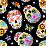 Παραδοσιακό μεξικάνικο υπόβαθρο κρανίων ζάχαρης διανυσματική απεικόνιση
