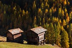 Παραδοσιακό ξύλινο φθινόπωρο barnin δύο κοντά σε Matterhorn, Ελβετία Στοκ Φωτογραφία