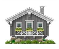 Παραδοσιακό φινλανδικό Σκανδιναβικό ξύλινο σπίτι Στοκ Εικόνες