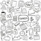 Παραδοσιακό χέρι σκίτσων εικονιδίων Doodle εξοπλισμού επιχειρησιακής τράπεζας χρηματοδότησης - γίνοντα διάνυσμα σχεδίου απεικόνιση αποθεμάτων