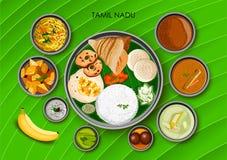 Παραδοσιακό thali γεύματος κουζίνας και τροφίμων του Tamil Nadu Ινδία ελεύθερη απεικόνιση δικαιώματος
