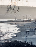 Παραθεριστική πόλη σε Μαύρη Θάλασσα το χειμώνα στοκ φωτογραφία