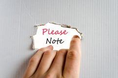 Παρακαλώ σημειώστε την έννοια κειμένων στοκ εικόνες με δικαίωμα ελεύθερης χρήσης