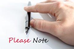 Παρακαλώ σημειώστε την έννοια κειμένων στοκ φωτογραφία με δικαίωμα ελεύθερης χρήσης