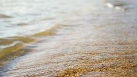 Παραλία άμμου με θάλασσας ρηχό βάθος εστίασης κυμάτων το επίλεκτο του τομέα με τη θερινή ατμόσφαιρα φιλμ μικρού μήκους