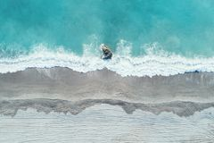 Παραλία άμμου της εναέριας άποψης κόλπων Dong'ao Στοκ Εικόνες