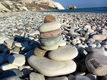 Παραλία αγάπης Βράχος Aphrodite ` s - τόπος γεννήσεως Aphrodite ` s κοντά σε Papho Στοκ Εικόνα