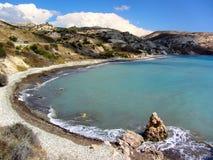 Παραλία αγάπης Βράχος Aphrodite ` s - τόπος γεννήσεως Aphrodite ` s κοντά σε Papho Στοκ Εικόνες