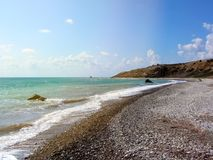 Παραλία αγάπης Βράχος Aphrodite ` s - τόπος γεννήσεως Aphrodite ` s κοντά σε Papho Στοκ φωτογραφία με δικαίωμα ελεύθερης χρήσης