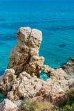 Παραλία βράχου Aphrodite ` s κοντά στο νησί της Κύπρου Στοκ φωτογραφίες με δικαίωμα ελεύθερης χρήσης
