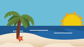Παραλία και θερινός HD καθορισμός ελεύθερη απεικόνιση δικαιώματος