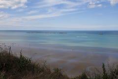 Παραλία κοντά σε Arromanches σε Normandie Γαλλία Στοκ Εικόνες