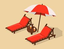 Παραλία με τα deckchairs κάτω από ένα umbrell ελεύθερη απεικόνιση δικαιώματος