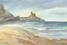 Παραλία με το τοπίο watercolor βουνών όπως η ανασκόπηση είναι μπορεί καλοκαίρι απεικόνισης χρησιμοποιούμενο ελεύθερη απεικόνιση δικαιώματος
