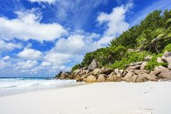 Παραλία παραδείσου στις Σεϋχέλλες, λεπτοκαμωμένο anse, Λα digue 1 Στοκ Εικόνες