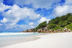 Παραλία παραδείσου στις Σεϋχέλλες, λεπτοκαμωμένο anse, Λα digue 3 Στοκ Φωτογραφία