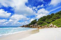 Παραλία παραδείσου στις Σεϋχέλλες, λεπτοκαμωμένο anse, Λα digue 2 Στοκ Εικόνες
