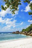 Παραλία παραδείσου στις Σεϋχέλλες, anse cocos, Λα digue 18 Στοκ φωτογραφία με δικαίωμα ελεύθερης χρήσης