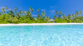 Παραλία παραδείσου των Μαλδίβες Τέλειο τροπικό νησί Όμορφοι φοίνικες και τροπική παραλία Ευμετάβλητος μπλε ουρανός και μπλε λιμνο Στοκ Φωτογραφίες