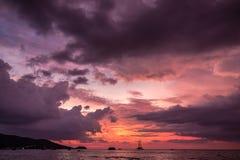 Παραλία που πυροβολείται στο ηλιοβασίλεμα Στοκ Φωτογραφίες