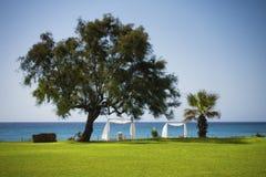 Παραλία σαλονιών σε Kelibia, Τυνησία Στοκ φωτογραφία με δικαίωμα ελεύθερης χρήσης
