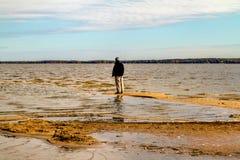 Παραλία στην εποχή πτώσης στο πάρκο Oka στοκ εικόνες