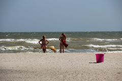 Παραλία της θάλασσας Azov στοκ εικόνες