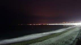 Παραλία της Νίκαιας τη νύχτα Στοκ Εικόνες