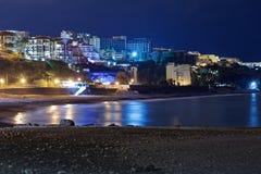 Παραλία της Φορμόζας Praia στο Φουνκάλ τη νύχτα Νησί της Μαδέρας στοκ εικόνες