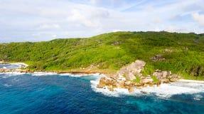 Παραλία Anse Grande στο Λα Digue, εναέρια άποψη των νησιών των Σεϋχελλών Στοκ Εικόνες
