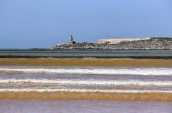 Παραλία Essaouira και παλαιό οχυρό στο Μαρόκο Στοκ φωτογραφίες με δικαίωμα ελεύθερης χρήσης