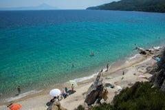 Παραλία Fava στην ελληνική χερσόνησο Sithonia Στοκ εικόνα με δικαίωμα ελεύθερης χρήσης