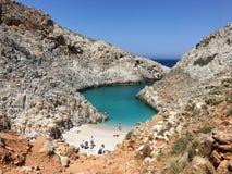 Παραλία limania Seitan Απίστευτες παραλίες ομορφιάς της Κρήτης Στοκ Φωτογραφίες