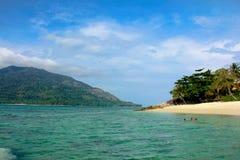 Παραλία Plam με το υπόβαθρο μπλε ουρανού το καλοκαίρι, στη θάλασσα Andaman : στοκ εικόνες