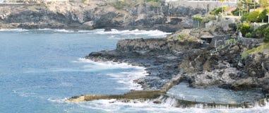Παραλία Tenerife Κανάρια νησιά tenerife Φυσική πισίνα Στοκ Εικόνα