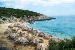 Παραλία Tigania στην περιοχή Sitonia στην Ελλάδα στοκ φωτογραφία