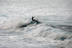 ΠΑΡΑΛΊΑ WAIMEA, OAHU, ΧΑΒΆΗ ΗΝΩΜΈΝΕΣ ΠΟΛΙΤΕΊΕΣ - 30 ΙΑΝΟΥΑΡΊΟΥ 2015: Σκιαγραφία ενός surfer που οδηγά ένα κύμα Στοκ Φωτογραφία