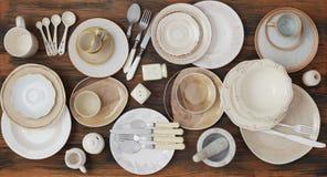 Παραλλαγή πιάτων άνωθεν στοκ φωτογραφία με δικαίωμα ελεύθερης χρήσης
