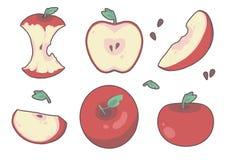 Παραλλαγή των διαφορετικών συρμένων κινούμενων σχεδίων φρούτων μήλων ύφους κόκκινων, συμπεριλαμβανομένων των φετών, των πυρήνων κ ελεύθερη απεικόνιση δικαιώματος