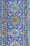 Παραμένει των διακοσμημένων μπλε κεραμιδιών μωσαϊκών στον τοίχο της εισόδου στο μπλε μουσουλμανικό τέμενος στο Ταμπρίζ Ιράν Στοκ εικόνες με δικαίωμα ελεύθερης χρήσης