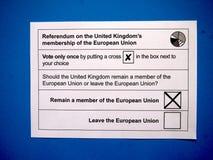 Παραμείνετε ψηφοφορία για χαρτί δημοψηφισμάτων της ΕΕ Στοκ Εικόνες