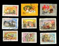 Παραμύθια και σχέδια παιδιών ` s - ένα σύνολο γραμματοσήμων στοκ εικόνες