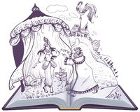 Παραμύθι Pushkin της χρυσής Cockerel ανοικτής απεικόνισης βιβλίων διανυσματική απεικόνιση