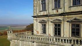 Παρατηρητήριο παλαιού Pidhirtsi Castle Αρχιτεκτονικά στοιχεία ενός αρχαίου κάστρου Ουκρανία απόθεμα βίντεο
