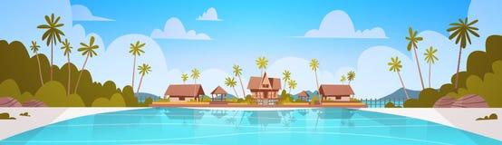Παραλία ακροθαλασσιών με την όμορφη έννοια θερινών διακοπών τοπίων παραλιών ξενοδοχείων βιλών απεικόνιση αποθεμάτων