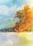Παραλία αναδρομική Στοκ Εικόνα