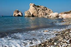 Παραλία βράχου Aphrodite ` s Tou Romiou, Κύπρος της Petra Στοκ εικόνα με δικαίωμα ελεύθερης χρήσης